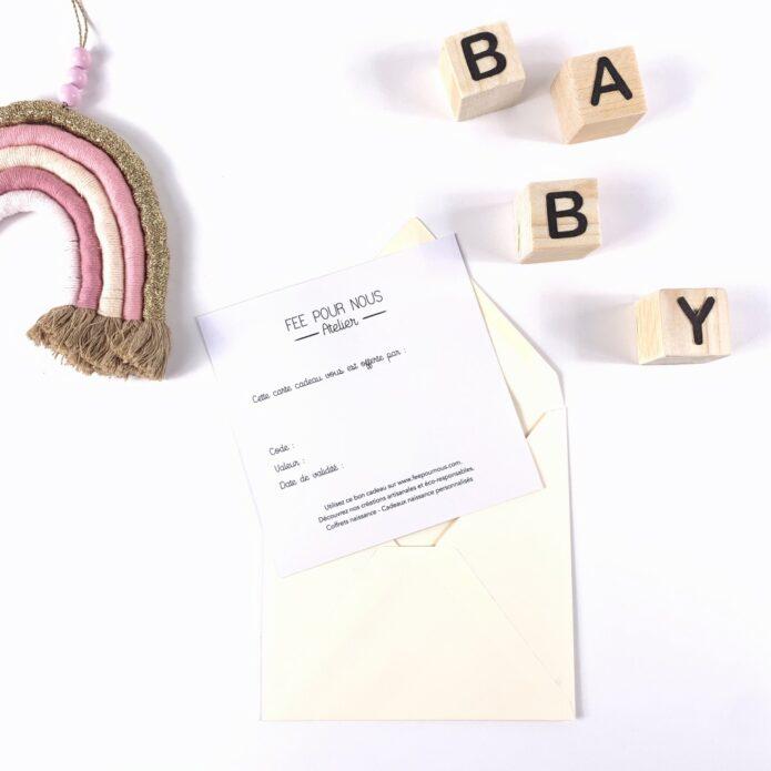 Carte cadeau bébé Fée pour nous